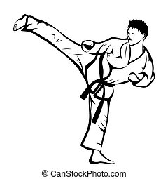 Karate kick - Vector illustration : Karate kick on a white...