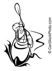 Kayaking man - Vector illustration : Kayaking man on a white...