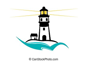 Lighthouse - Vector illustration : Lighthouse on a white...