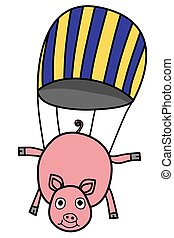 Parachuting pig - Vector illustration : Parachuting pig on a...