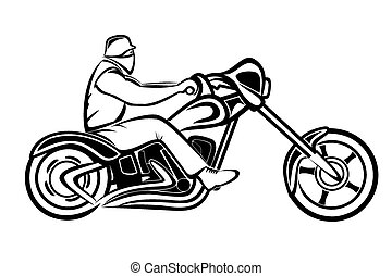 Rider on a chopper - Vector illustration : Rider on a...