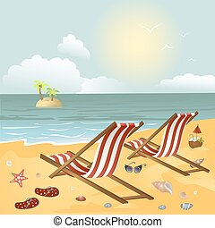 Two chaise longue on the beach.Vector illustration