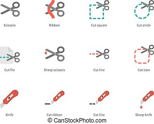 Cut scissors and knife colored icons on white background -...