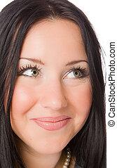 close up portrait of pretty brunette
