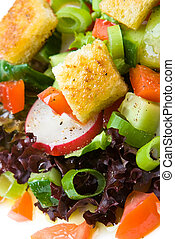 Healthy salad with croutons on a plate