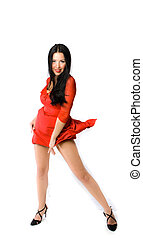 lady in blowed red dress isolated