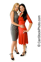 couple of hot ladies isolated