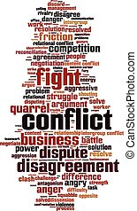 Conflict word cloud concept Vector illustration