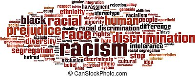 Racism word cloud concept Vector illustration