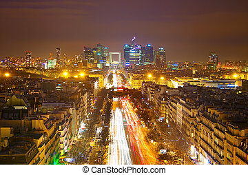 Paris at night - Skyline of Paris View from Arc de Triomphe...