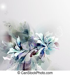 Abstract background design - Light abstract flowers on the...