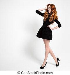 Beautiful Woman in Little Black Fashion Dress.