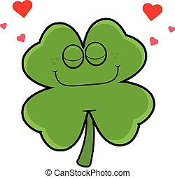 Cartoon Shamrock With Hearts
