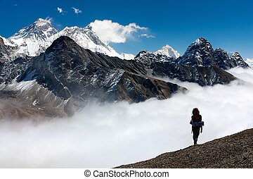 view of Everest from Gokyo with tourist