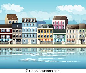 old town - stylized, seamless horizontal vector illustration...
