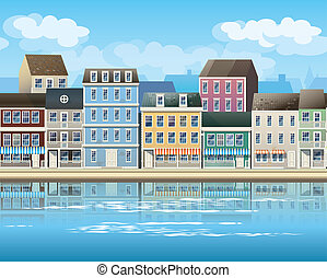 old town - stylized, seamless horizontal illustration on the...