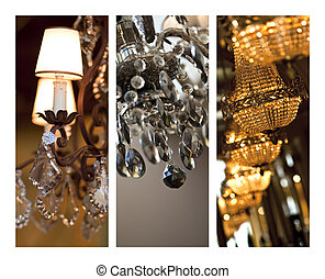 Chandeliers - Glass chandeliers on a collage