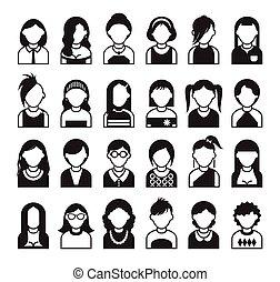 Set of flat people icons - twenty four set of style women...