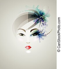 Beautiful woman design - young woman face with makeup and...
