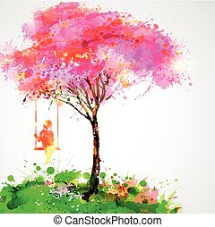 Artistic tree design - Spring blossoming tree. Dreaming girl...