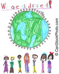 Around the World - Crayon and marker drawing of children and...