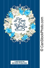 Wedding card with hibiscus flowers. - Vertical wedding card...