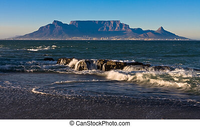 Table Mountain - Early morning waves overlooking table...