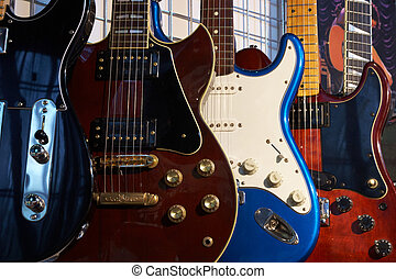 Electric guitars - Close-up of electric guitars in a music...