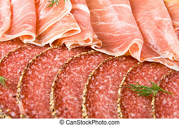 Parma ham and salami slices