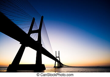 Bridge Vasco da Gama Portugal - Sunrise at Vasco da Gama...