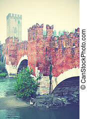 Verona - Old bridge in Verona, Italy Retro style filtred...