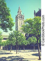 Seville - Giralda bell tower in Seville, Spain. Retro style...