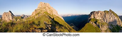 Karnische Alpen or Alpi Carniche - morning view from...