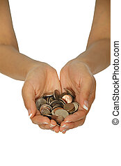 Hands - Female hands holding a hand full of coins on white...