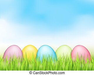 Easter Eggs - Colored easter eggs in grass, vector eps10...
