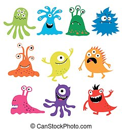 Set with colorful funny characters - Set with a colorful...