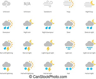 Meteorology colored icons on white background. - Pictogram...