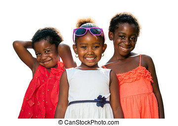 Three african youngsters wearing dresses isolated.