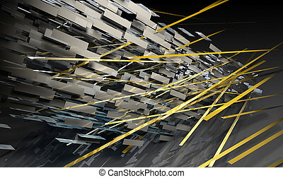 Futuristic Lines Background in 3d Art Form