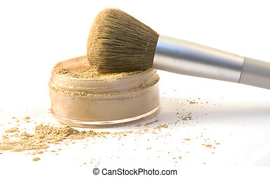 Makeup Brush in Foundation Powder - Colored photograph of a...