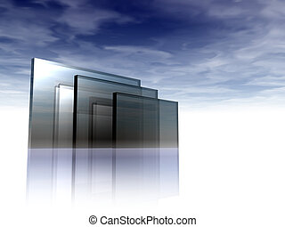 glass - abstract glass construction under blue sky - 3d...