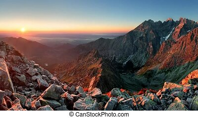 Mountain sunset panorama from peak - Slovakia Tatras