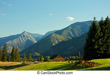 Mountain Landscape With Cottage - Beautiful Bavarian-like...