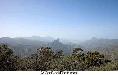 Gran Canaria, Caldera de Tejeda in January, calima in the...