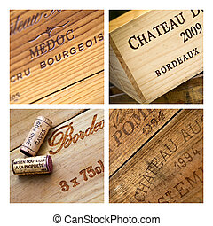 Wines boxes - Various wine boxes on a collage