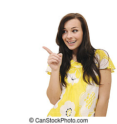 woman pointing at copyspace