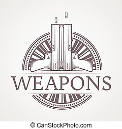 Abstract vector illustration of traumatic weapons badge