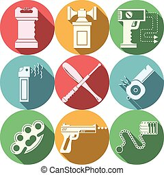 Color vector icons for self defence - Set of flat circle...