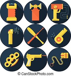Flat vector icons for self defence - Set of flat circle dark...