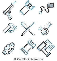 Flat line icons vector collection of self-defense - Set of...